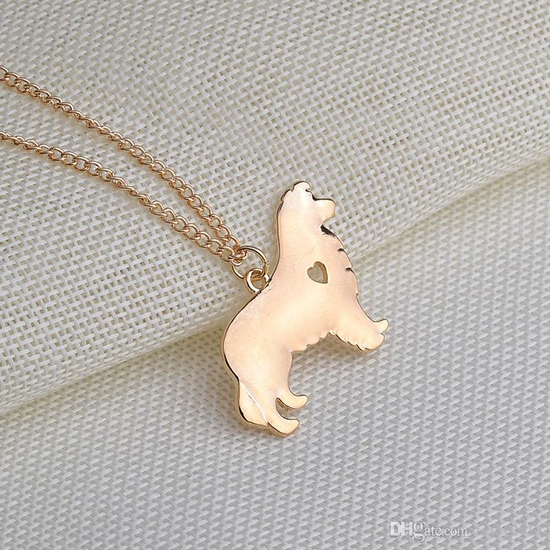 Akita dog necklace Cute design 18K gold plated dog pendant necklace Jewelry beautiful gift silver plated with 55cm chain Polish Dog charm