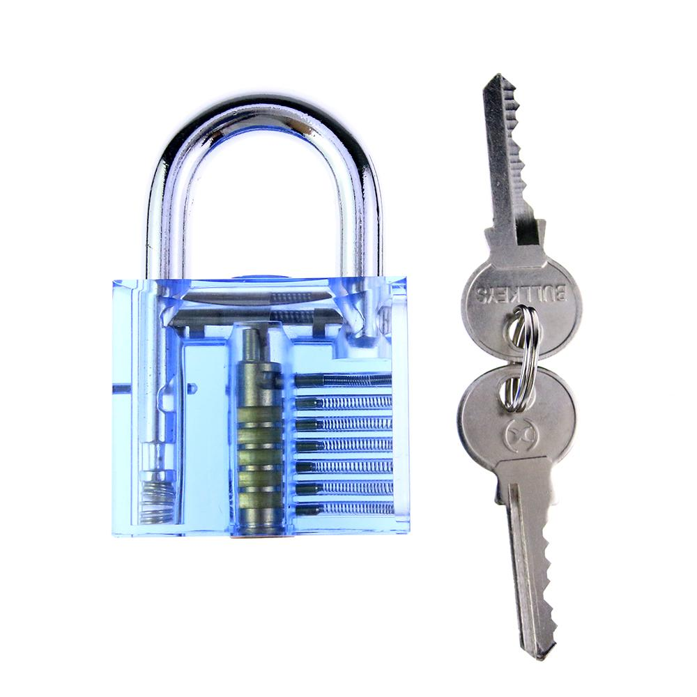 Free Shipping A transparent Blue Color 7 pin perspex padlock for lock-picking practice closed for professional locksmith tools SYG-012