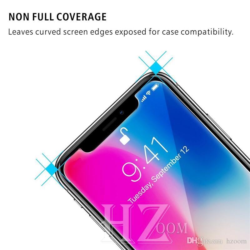 Ausgeglichenes Glas 2.5D 9H Schirm-Schutz-Film für iphone XR XS maximales X 8 7 plus 6s Samsung A6 A8 A9 J4 J6 J8 2018 Huawei P20 Pro