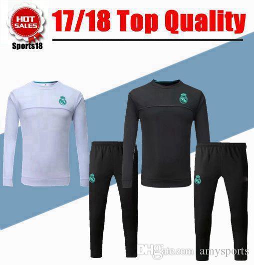 24354e03a7e 2019 2018 Kids Real Madrid Soccer Training Suits Uniforms Shirts Football  Camiseta De Futbol Boy Youth Ronaldo Long Sleeve Survetement Tracksuits  From ...
