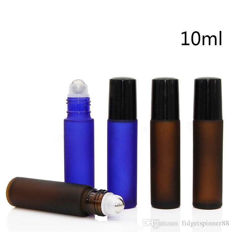 Wholesale 1/3OZ Frosted Empty Essential Oil Glass Bottles with Stainless Steel Roller Ball & Black Gold Lids HOt USA AU Sale