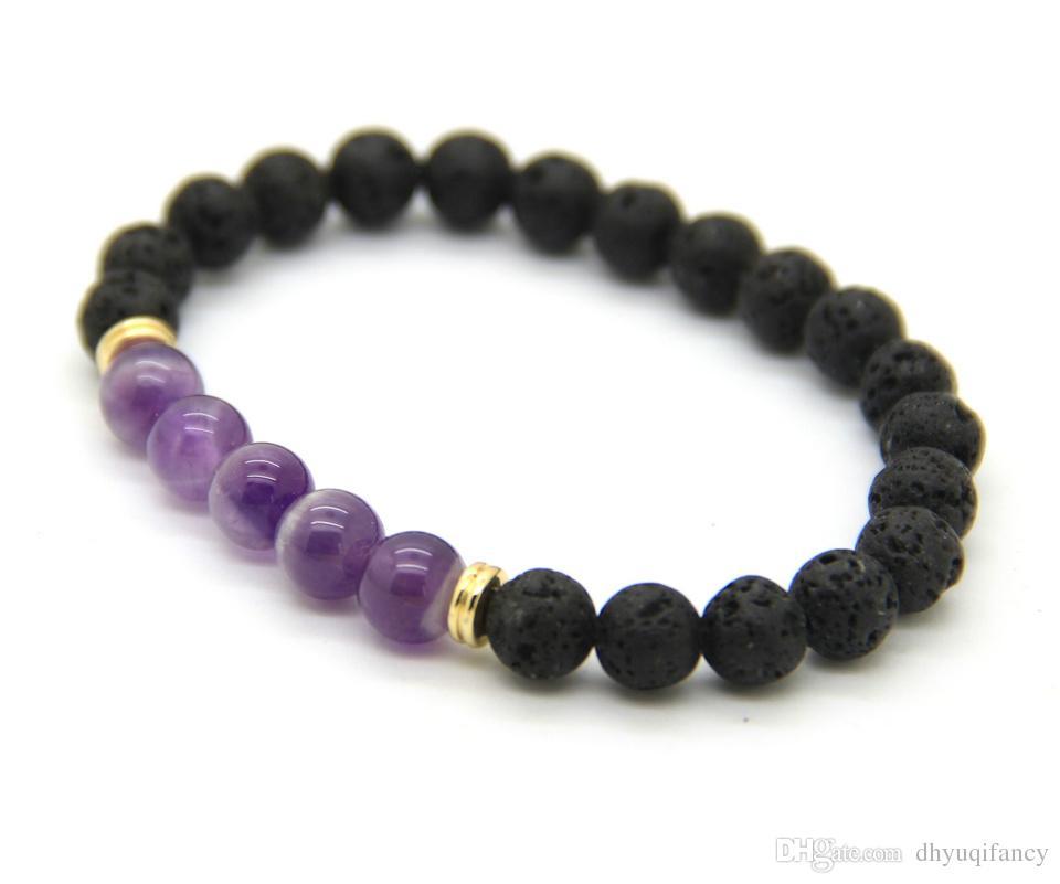 NUOVO 8mm Nero LavA Stone Natural viola Ametista Perle di pietra Stretch Donne Mens Energia Yoga Regalo Bracciali gioielli