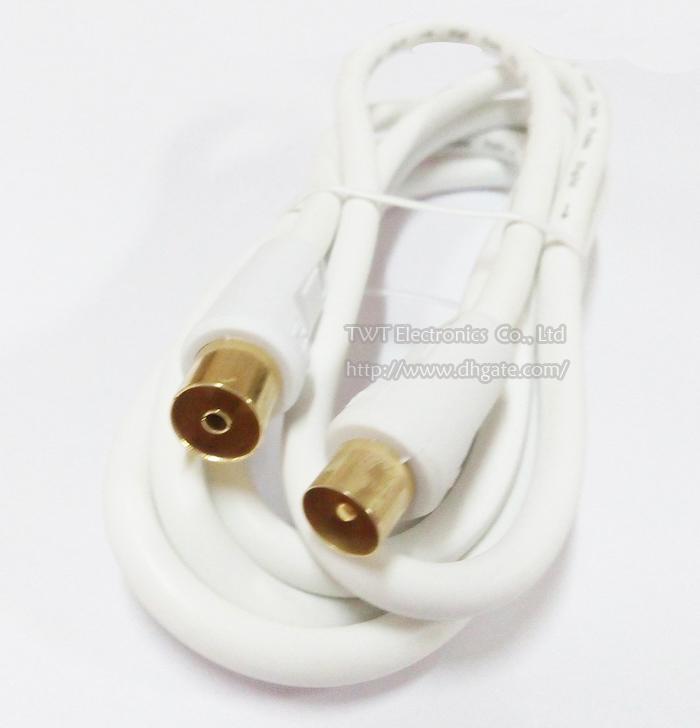 Cuprum 4N OFC Koaxialaudio / Video Fernsehapparat-Mann zu PAL weiblichem Rf-Kabel WEISSE FARBE 1.8M / Qualität / freies Verschiffen /
