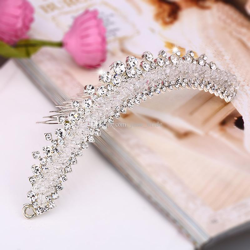 Stunning Crystal Beaded Bridal Tiara Crown with Comb High Quality Clear Wedding Party Headpieces Pageant Tiaras Real Photos