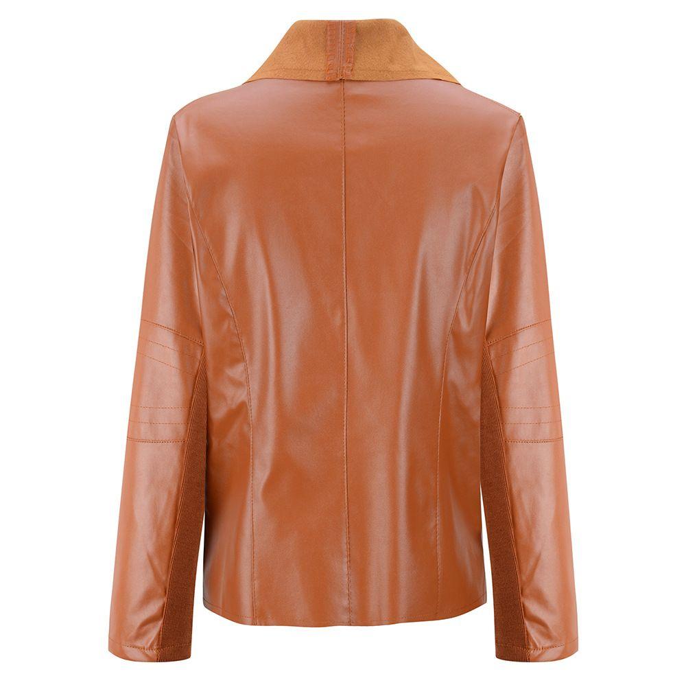 Wholesale-S ~ 4XL Artı Boyutu Marka Bayan Deri Ceket Ve Mont İngiliz Tarzı Uzun Kollu Casual Kadın Deri Ceket Kaban Palto 07749