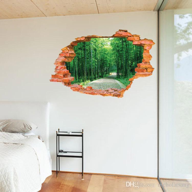 2016 gran pegatina de pared árbol bosque paisaje 3d lámparas de ladrillo sala de estar dormitorio decoración vinilo pared arte decoración