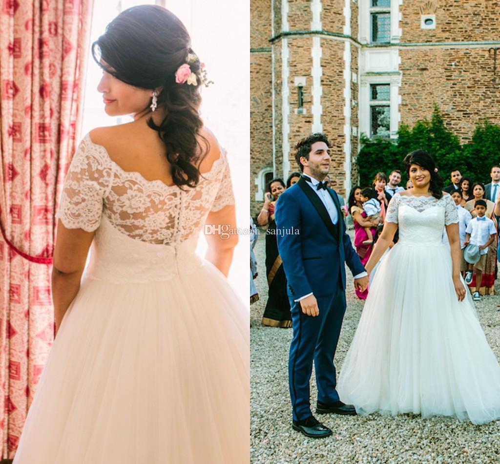Vestidos de novia encaje cuello barco