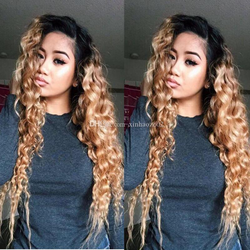 # 1b / 27 Pelucas llenas del pelo humano del cordón de Ombre color 150 pelucas delanteras del cordón rizado de la densidad Pelucas llenas rubias encantadoras del cabello humano del cordón