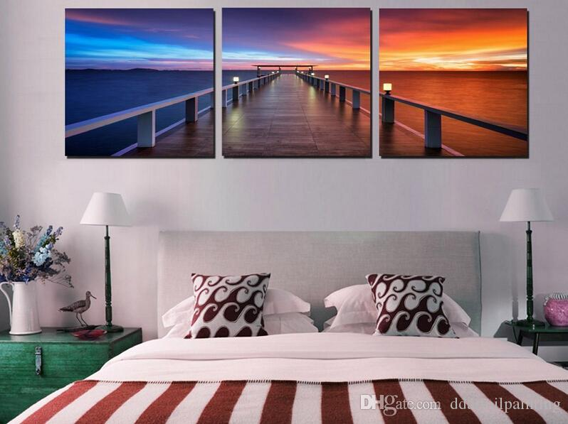 3 Panel Home Modern Decor Paintings Morning Sunrise On Sea Bridge Canvas Prints Picture Beautiful time Wall Art For Bedroom