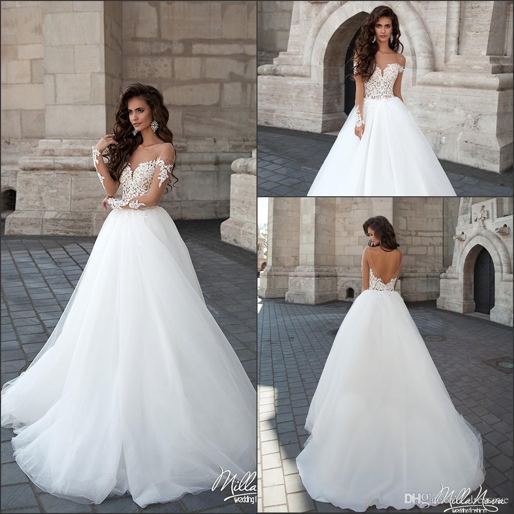 2018 Milla Nova Simple Satin Wedding Dresses 34 Long: Vestido Para Madrinha Vestidos De Casamento Brancos Árabes