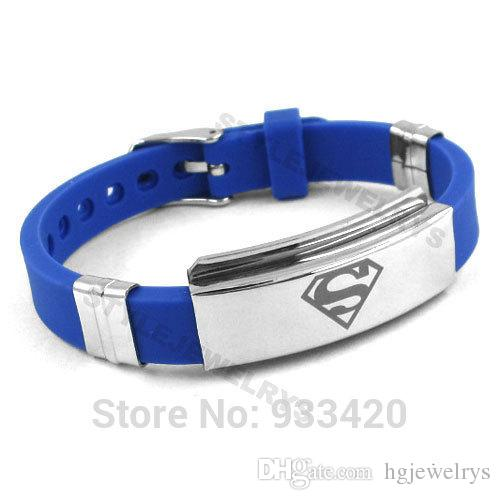 ! Classic Superman Bracelet Stainless Steel Jewelry Blue Rubber Motor Biker Bracelet Men Wholesale SJB0217B