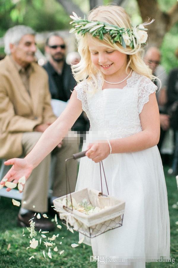 Custom Made Vintage Outdoor Hochzeit Blumenmädchen Kleider Knielangen Chiffon Spitze Top Jewel Neck 2016 Günstige Weiß Kind Party Kommunion Kleid