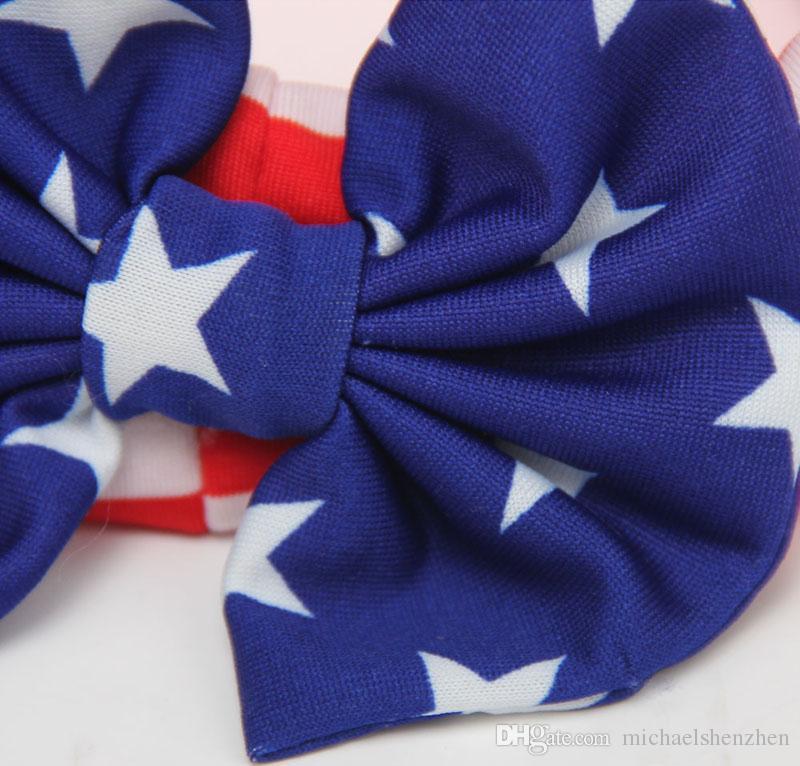 Детские американский флаг евро звезды полоса бантом ободки 3 Дизайн девушки прекрасный милый лук волос полоса Headwrap дети эластичные аксессуары B001