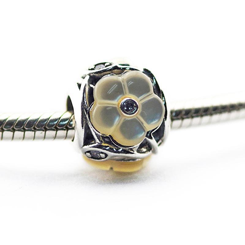 Lose Perlen Authentische 925 Sterling Silber Perlen Leuchtende Blumen, Perlmutt Klar CZ Passend für Pandora Armbänder 2016 Muttertag