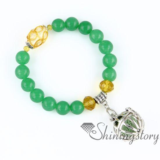 ball bird cage openwork beaded bracelets charm bracelets diffuser bracelet perfume pendant essential oil pendant diffuser semi precious ston