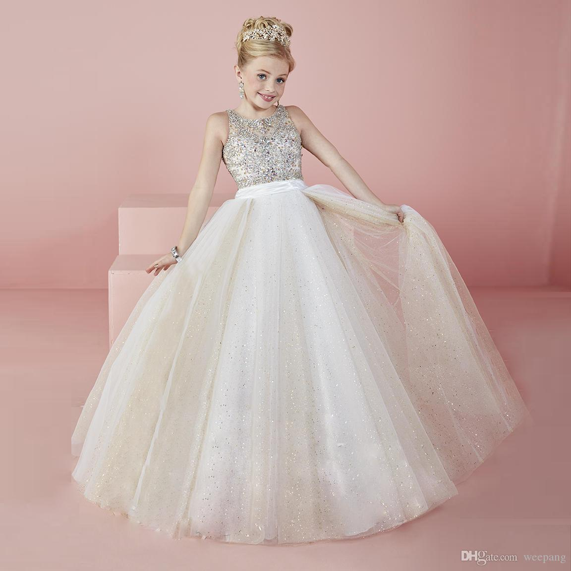 2016 Princess Ball Gown Pageant Dresses Jewel Crystals Beads Sequins ...