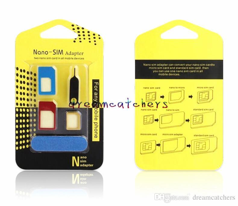 Alüminyum Metal Nano Sim Kart Adaptörleri 5 1 Mikro Sim Stander Sim Kart Aracı iphone 6 s 5 s tüm cep telefonu için cihazlar