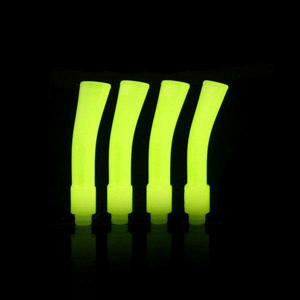 Noctilucent Plastic Long Flat Drip Tip Curved Bend Colorful 75mm 510 Luminous Glow in the Dark Mouthpieces for E Pipe Rda Vape Ecig