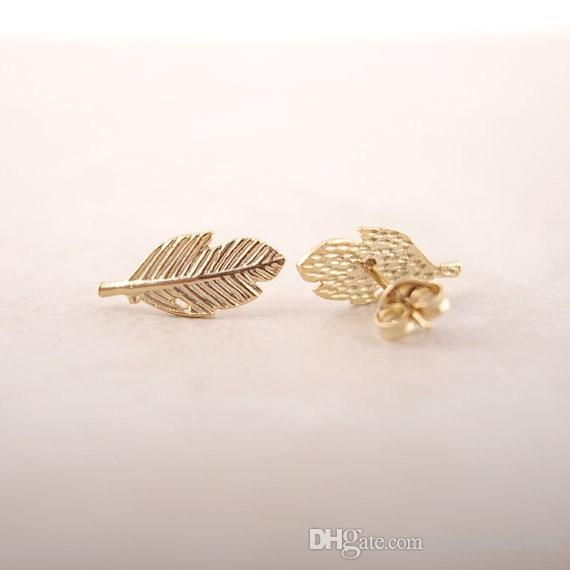 Wholesale New Fashion Gold Silver Rose Gold Plated Trendy Fallen Leaves Studs Earrings for Women Simple Women Feather Earrings Jewelry