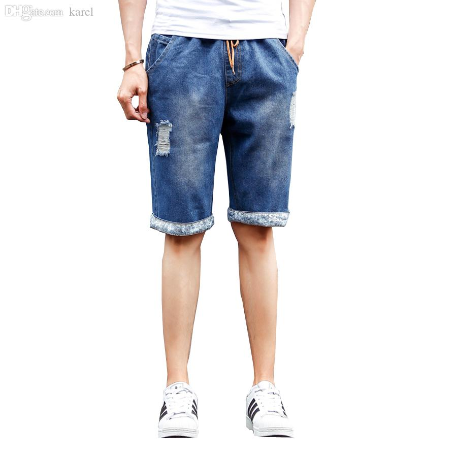 2017 Wholesale 2016 Summer Mens Jean Shorts Men White Denim Shorts ...