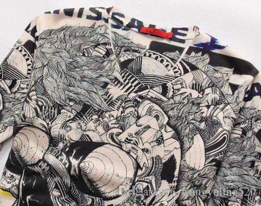Estilo clásico caliente 2017 otoño europeo y americano simple de manga larga 3D código grande camiseta con cuello en v