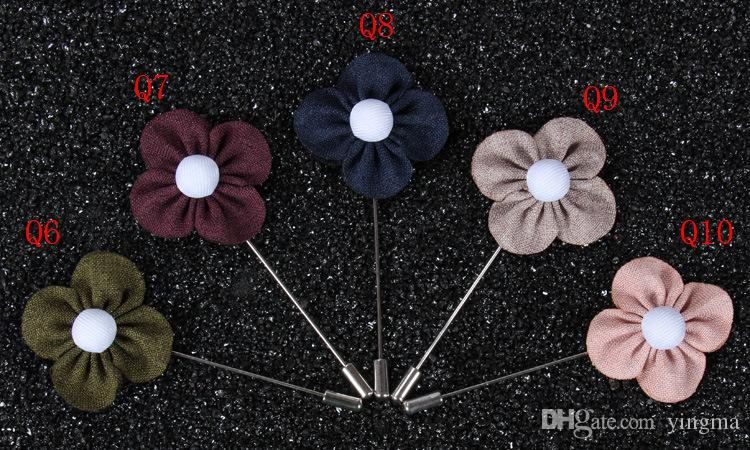 New fashion men brooch flower lapel pin 4cm suit boutonniere fabric yarn pin button Clover flower broochers for wedding Jewelry