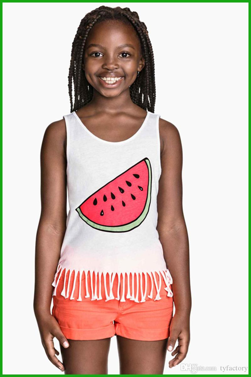 tyfactory killing price sounth africa style new Summer Girls Watermelon Print Tassel Vest Blouse Kids Baby Tops girls suits outfit