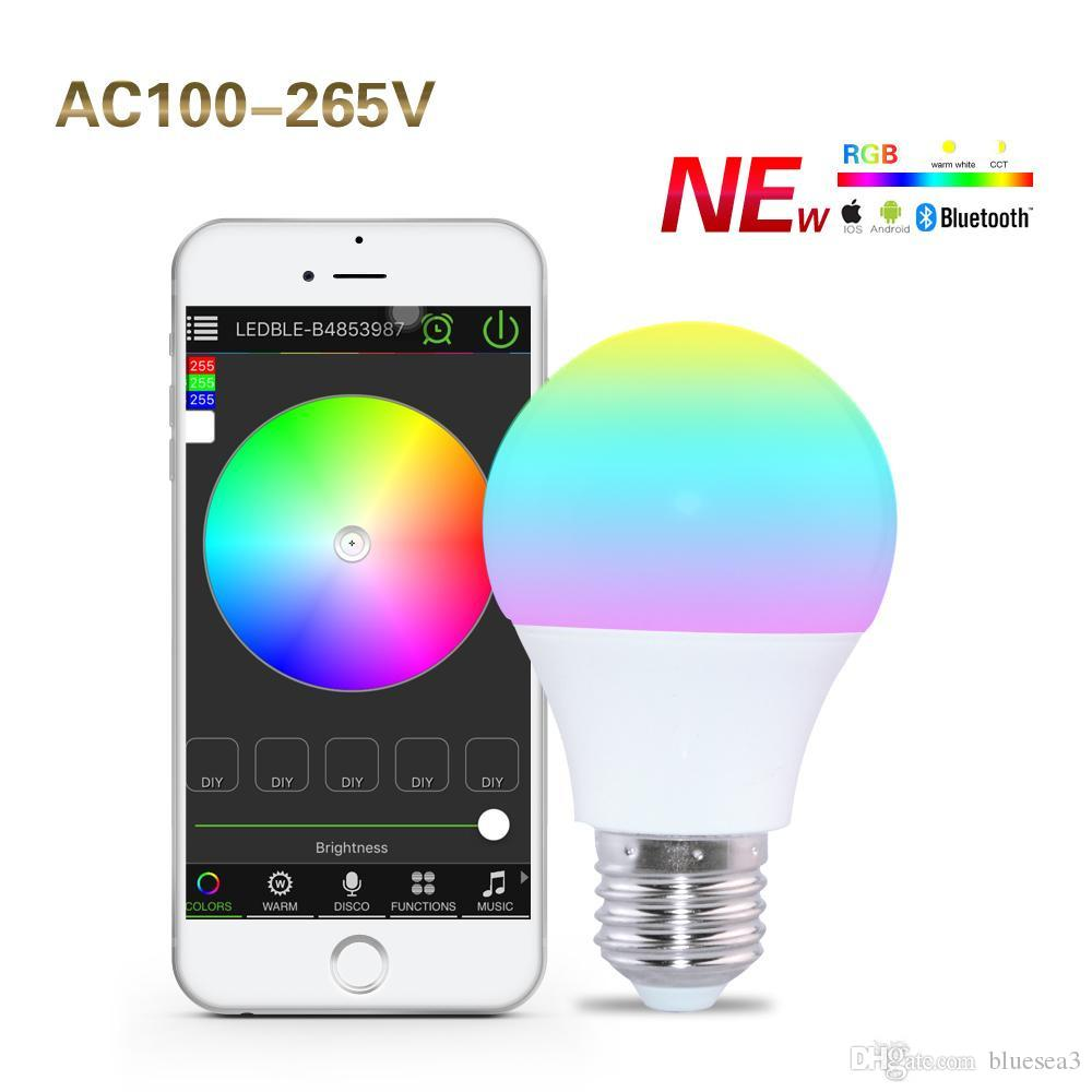 smartphone controlled lighting. E27 RGBW Dimmable Bulbs Bluetooth 4.0 Controlled By Smartphone App LED Lights Sleeping Mode Smart Home Illumination 100-264V Lamp Light Lighting P