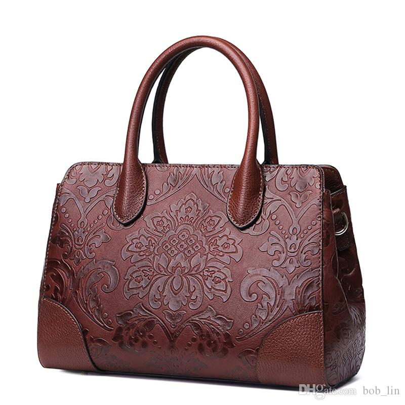 Women leather handbags high quality real cow genuine leather bags 2017 new chinese style floral shoulder bag casual tote bag