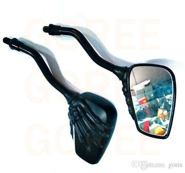 أسود مرآة دراجة نارية مرآة الرؤية الخلفية مرايا الرؤية الخلفية كروم دراجة نارية الجمجمة مرآة 8MM