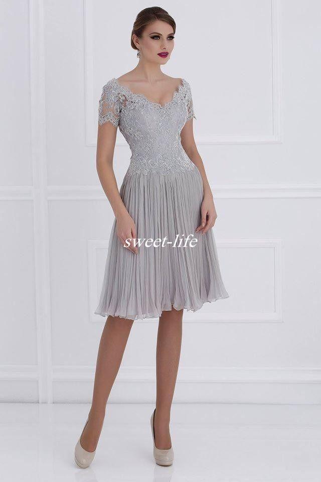 Breve madre degli abiti da sposa con maniche corte la lunghezza del ginocchio in chiffon con scollo a V in chiffon 2019 abiti da festa di nozze su misura