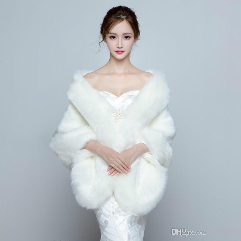 2018 Ivory Winter Wedding Coat Bridal Faux Fur Wraps Warm Shawls ...
