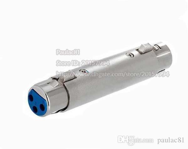 High Quality Dual Microphone XLR 3Pin Female to Female Coupler MIC Plug Connector Adapter//