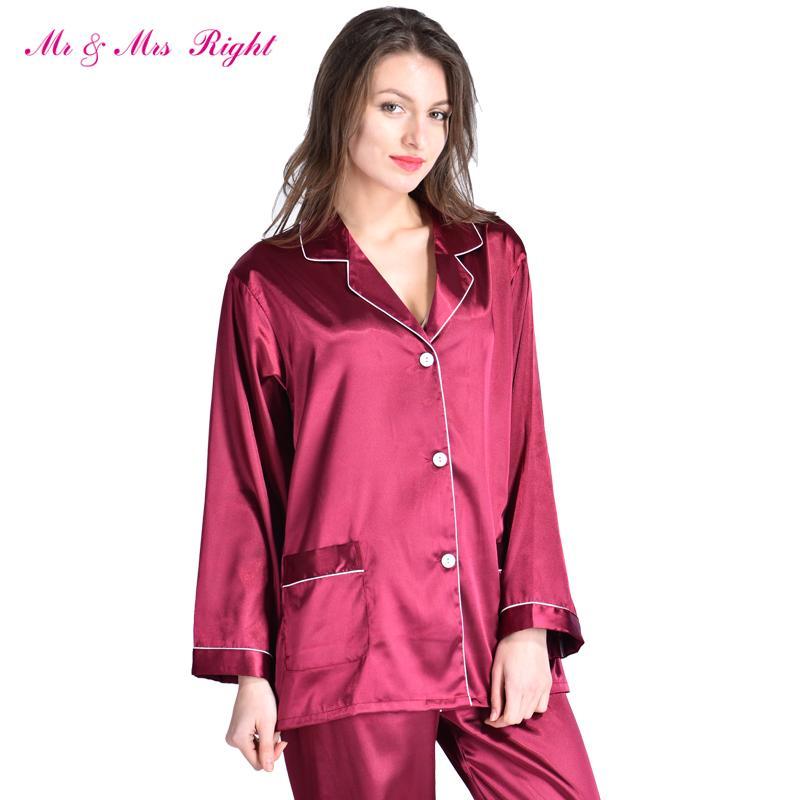 2019 Wholesale MR   MRS RIGHT Satin Pajamas Set Robe Fashion Sleeping Wear  Female Nightgown Silk Long Size V Neck Valentine S Day Gift Pajama From ... 66e92ffe8