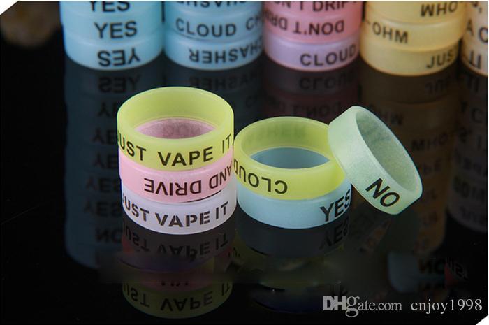 Hot Glow In The Dark Bands Vape Personnaliser personnalisés bandes Vape cigarette électronique silicone vapeur avec anneau usine Prix Gratuit DHL
