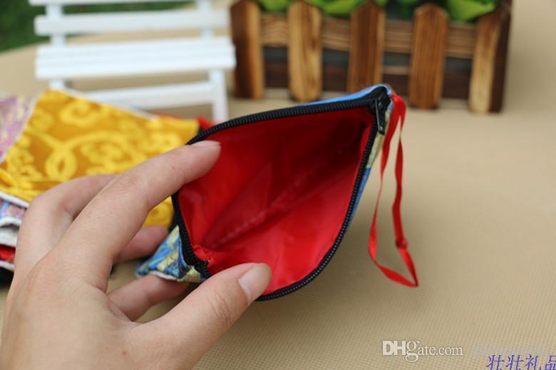 Sacchetti regalo in raso di seta con cerniera piccola Sacchetti gioielli Portamonete Portamonete Porta carte di alta qualità Tasca imballaggio in tessuto con fodera 3 pezzi / lotto