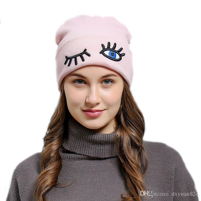 Women Girls Funny Eye Embroidered Baggy Knitted Beanie Cuff Hat Autumn  Winter Soft Beanies Bonnet Skull Hat Naughty Casual Cap Top Quality Cap Hat  Cute ... 440051aed83