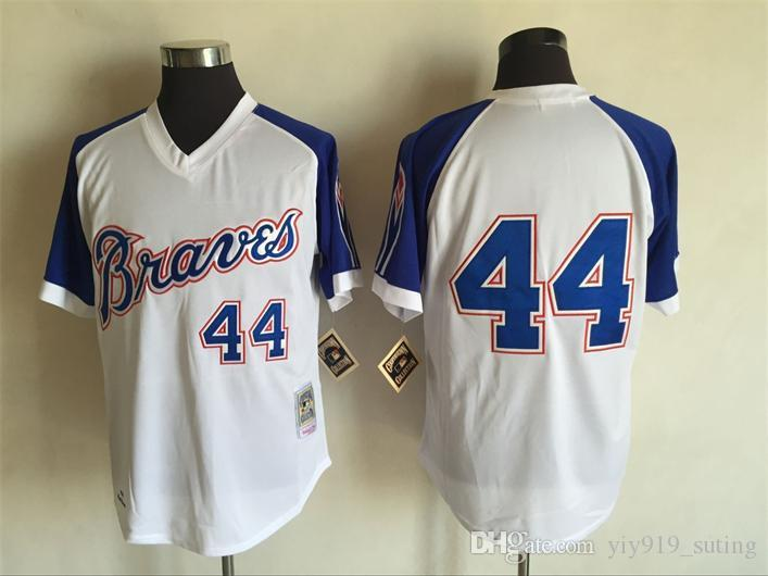 online store e0252 3a7ba atlanta braves 44 hank aaron white throwback jersey
