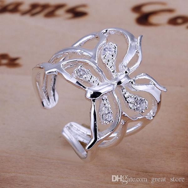 hot sale Inlay butterfly sterling silver ring GR035,women's white gemstone 925 silver Rrings Wedding Rings