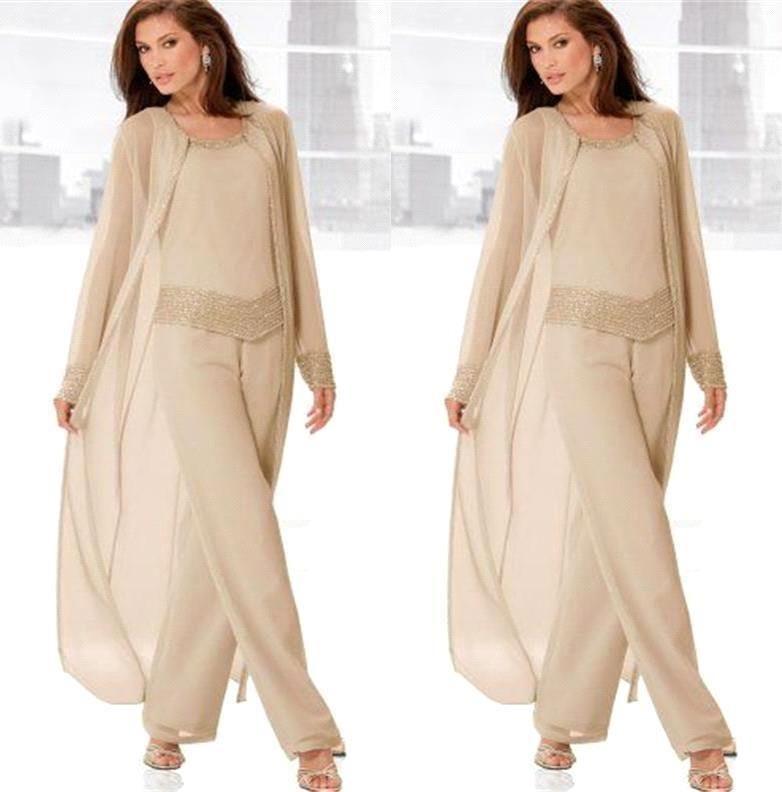 2018 Vintage Plus Size Calças Ternos para a Mãe Da Noiva Mangas Compridas Jaqueta Moda Mãe Vestidos de Casamento Barato Mãe do Vestido do Noivo