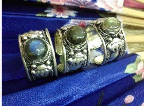 Spezielle Tibet Silber Spitze schwarz Mondstein Ring einstellbar Religion Labradorit