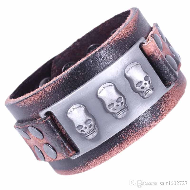 Wholesale 2016 Cuff Bracelets Male Wide Leather Bracelet Skull Punk Rock Jewelry Handmade Skeleton Men Dancer Accessories