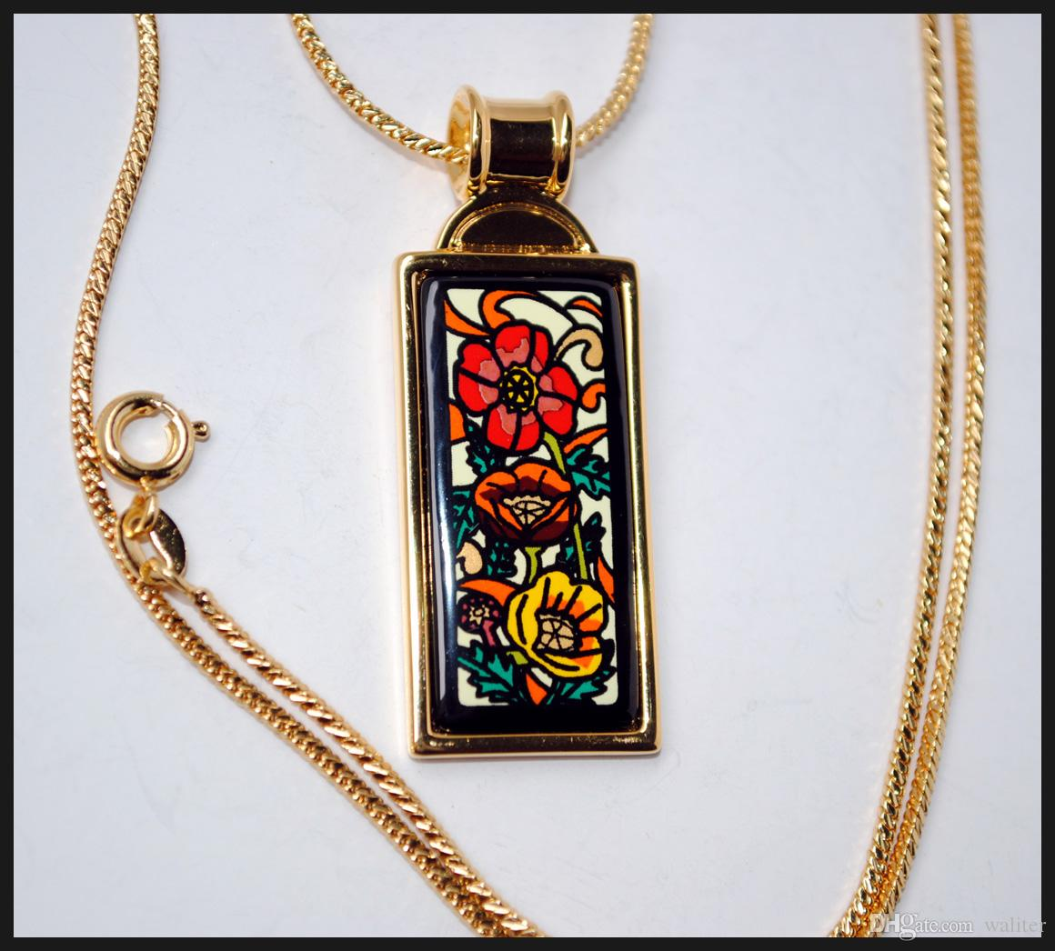 Monet Poppy Series 18K gold-plated enamel necklaces for woman Top quality rectangular pendant necklace collier