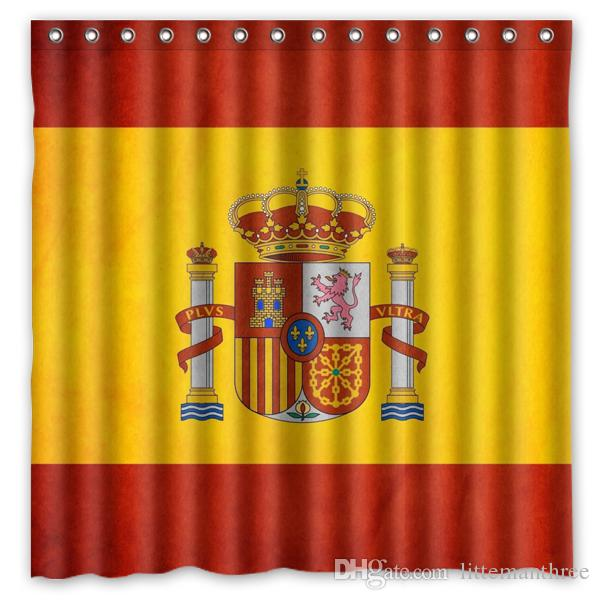 2018 Yellow Red Flag Spain Design Shower Curtain Size 180 X Cm Custom Waterproof Polyester Fabric Bath Curtains From Littemanthree