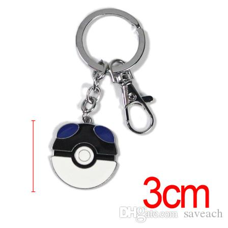 Poke Mon Ball Figures Pendant Keychain Pocket Monster Toys PokeBall Keychains Super Master Ball Keyring Kids Gift