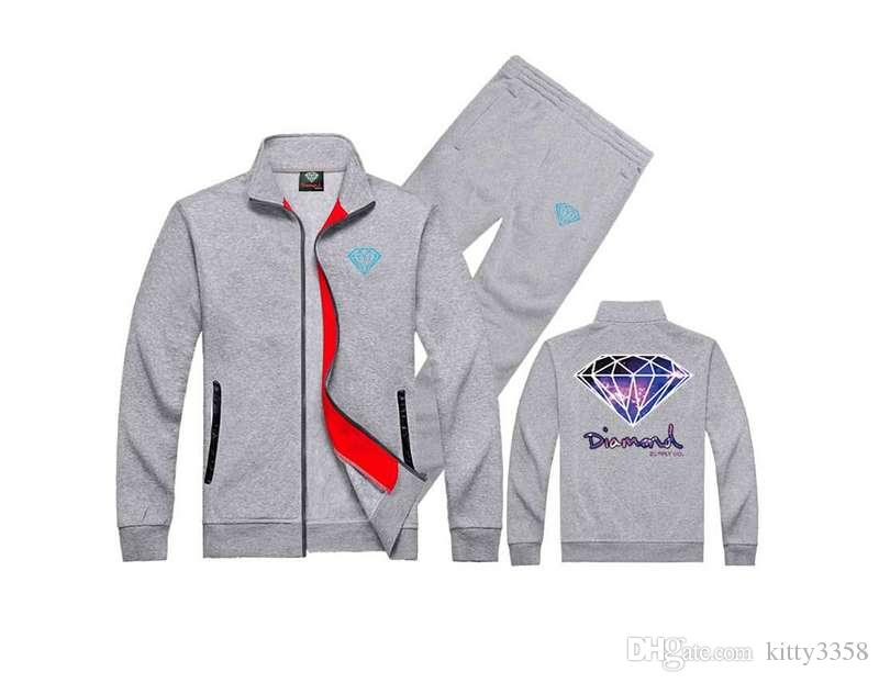S-5XL Diamond Supply sweat suit Sweatshirt+Pants Brand Pullover Male Hip Hop Jogging Sets Mens Clothing