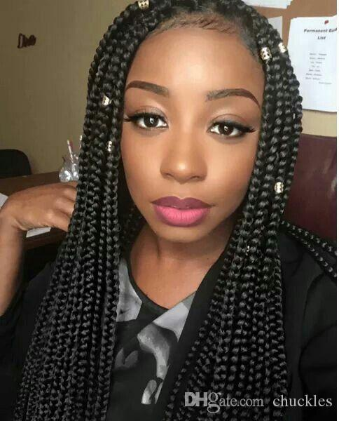 18 3s Box Braids Hair Medium Length Pre Twisted Black Brown Burgundy Crochet Braiding Extension Remy Weave Weaves From Chuckles