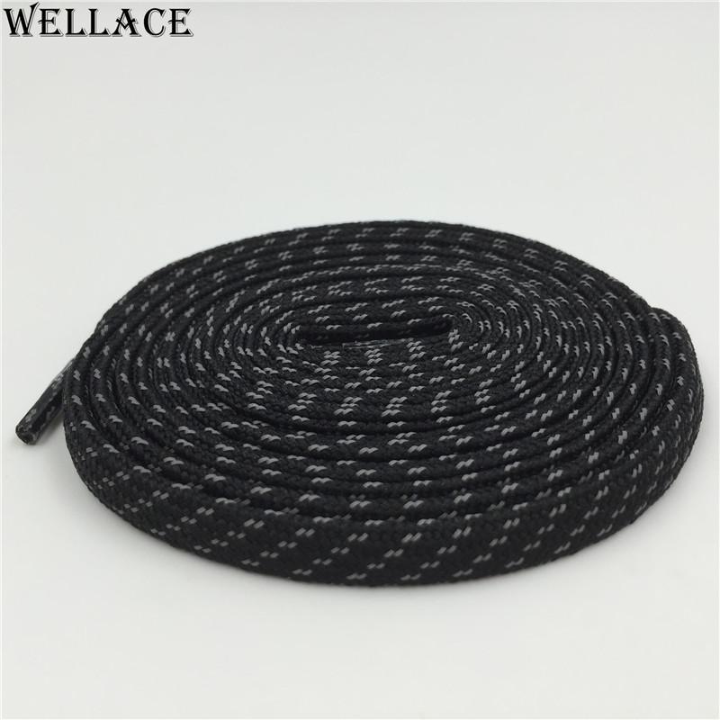 Cordones planos Wellace 3M cordones de colores cordones negros planos Cordones reflectantes de grano cruzado Logo personalizado cordones para la venta 120cm
