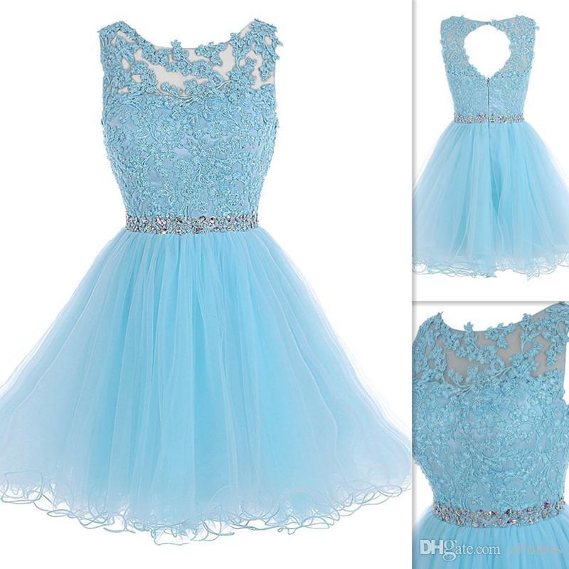 2fac4ed035 Luz Céu Azul Curto Vestidos de Baile 2016 Rendas Sheer Neck Aberto de Volta  Homecoming Vestidos de Tule Frisado Mini Vestido de Cocktail Para  Adolescentes