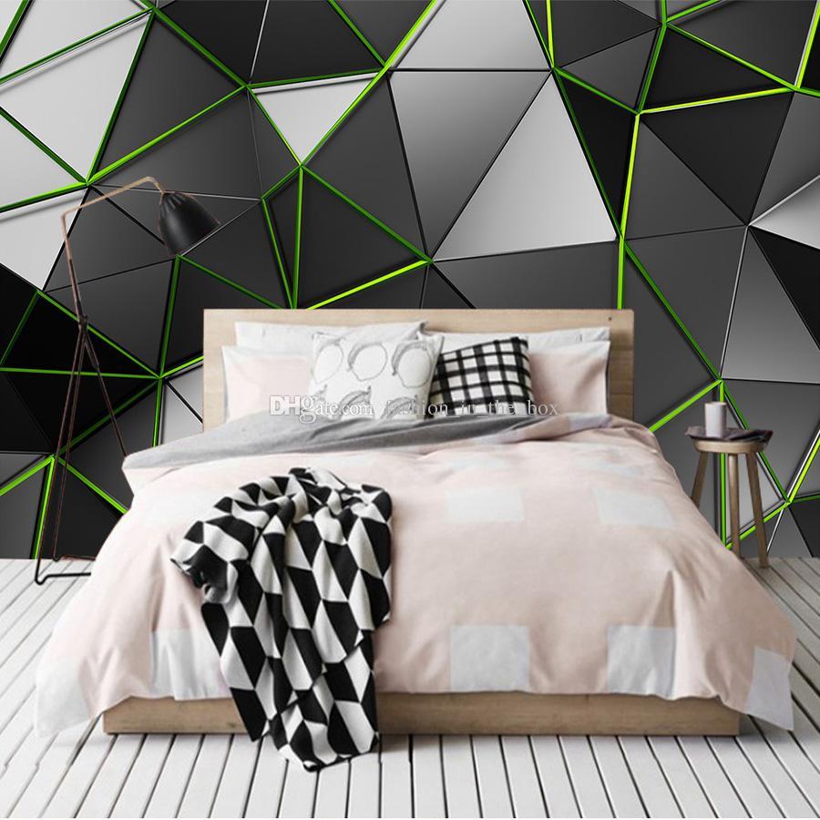 3D Creative Wallpaper Geometry Green Line Wall Mural 3D